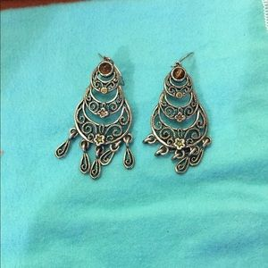 Silver and crystal earrings.  Adorable